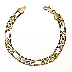 Simon Frank Yellow Gold Overlay 8-inch Figaro Bracelet 10mm