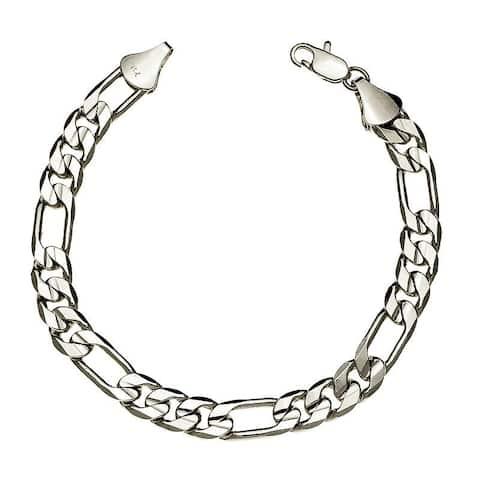 10mm 8-Inch Silver Overlay Figaro Bracelet
