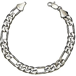 Simon Frank White Gold Overlay 8-inch Figaro Bracelet 10mm