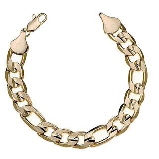 Simon Frank 14k Yellow Gold Overlay 8-inch Figaro Bracelet 12mm