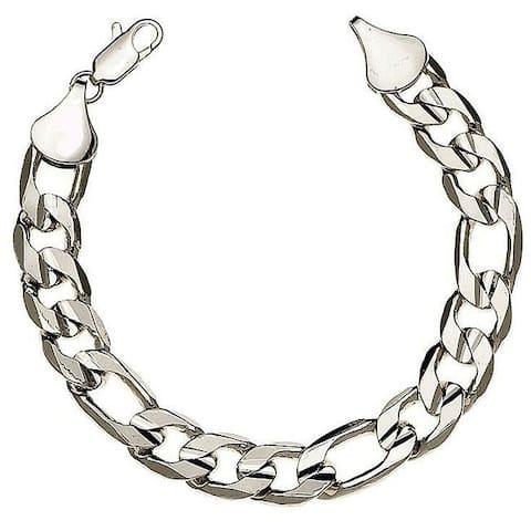 Simon Frank Silver Overlay 8-inch Figaro Bracelet 12mm