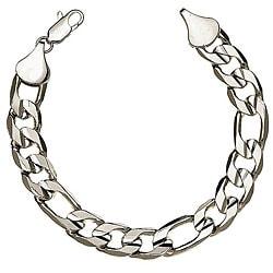 Simon Frank 14k White Gold Overlay 8-inch Figaro Bracelet 12mm