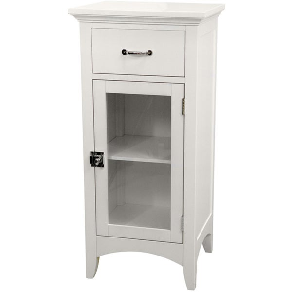 Classique White Single Door/ Single Drawer Floor Cabinet by Essential Home Furnishings