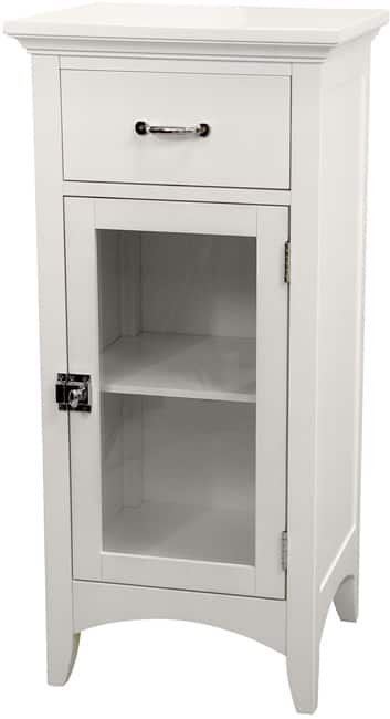 Classique White Single Door/ Single Drawer Floor Cabinet by Elegant Home Fashions