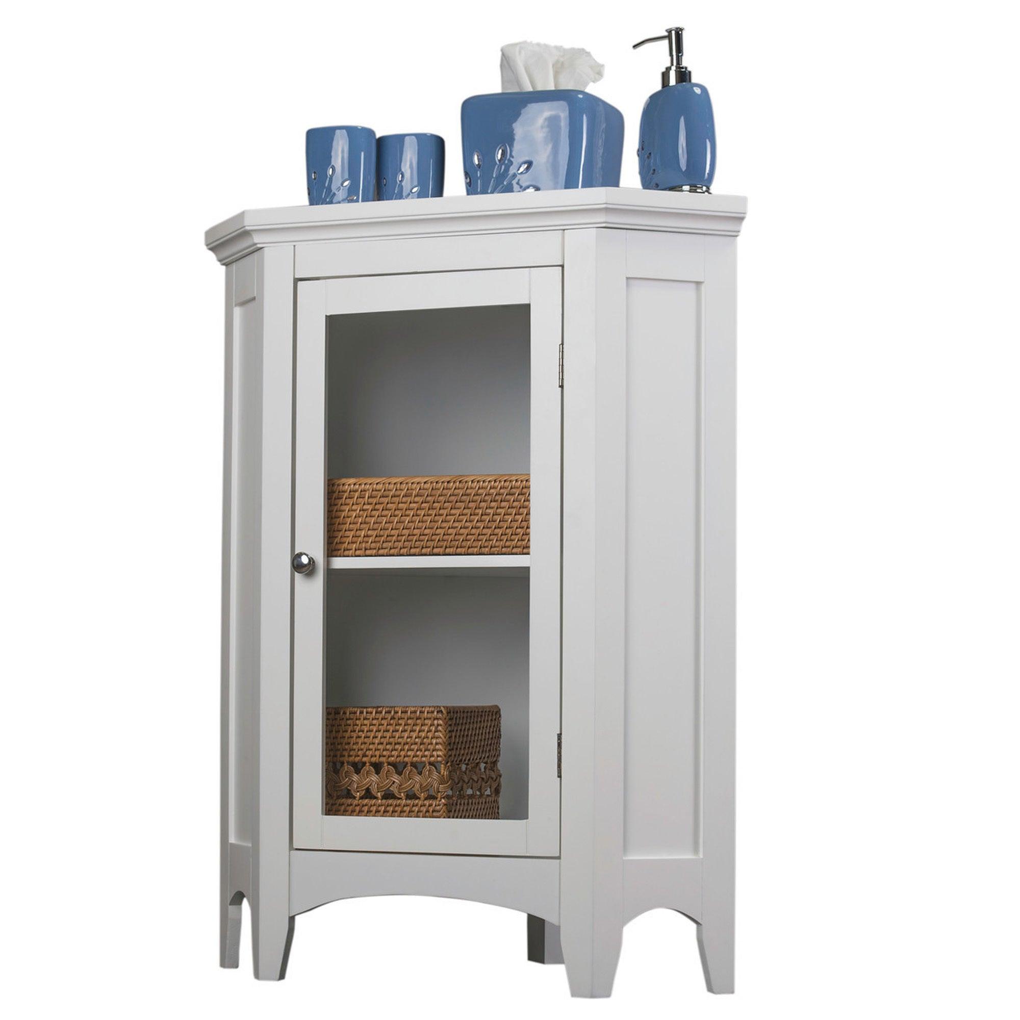 2 Shelves Home Bathroom Storage Furniture Corner Compact Floor Cabinet White New