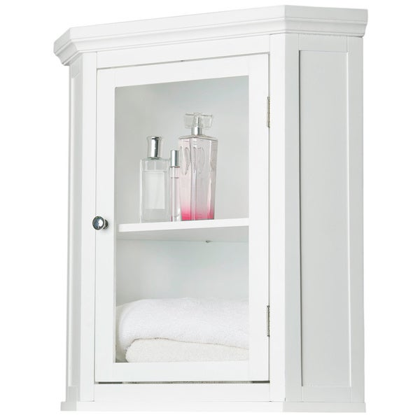Clique White Corner Wall Cabinet By Elegant Home Fashions Free Shipping Today 3164647