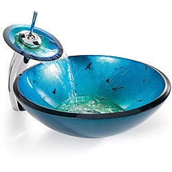 KRAUS Irruption Glass Vessel Sink in Blue with Single Hole Single-Handle Waterfall Faucet in Chrome