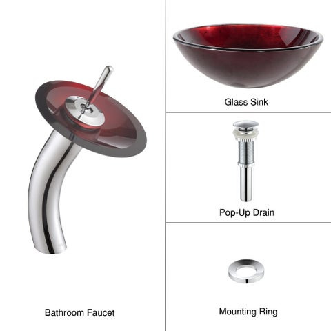 KRAUS Irruption Glass Vessel Sink in Red with Single Hole Single-Handle Waterfall Faucet in Chrome