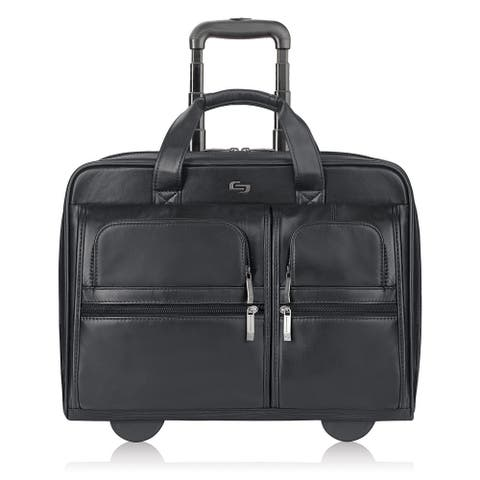 Solo Black Leather Rolling 15-inch Laptop Case