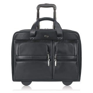 Link to Solo Black Leather Rolling 15-inch Laptop Case Similar Items in Backpacks