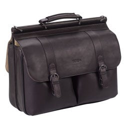 Solo Colombian Padded Leather Laptop Briefcase with File Pocket