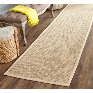 "Safavieh Casual Natural Fiber Hand-Woven Sisal Natural / Beige Seagrass Bordered Runner (2'6"" x 8')