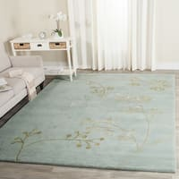 Safavieh Handmade Soho Vine Light Blue New Zealand Wool Rug - 6' x 6' Square