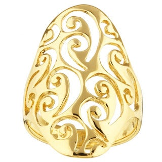 Sterling Essentials Gold over Silver Filigree Cigar Ring
