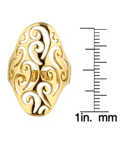 Sterling Essentials 14K Gold over Silver Filigree Cigar Ring - Thumbnail 2