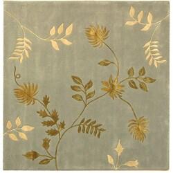 Safavieh Handmade Soho Twigs Light Blue New Zealand Wool Rug (6' Square)