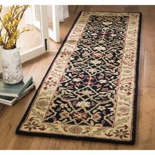 Safavieh Handmade Mahal Black/ Beige Wool Runner (2'3 x 12')