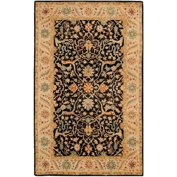 Safavieh Handmade Mahal Black/ Beige Wool Rug - 4' x 6'