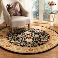 "Safavieh Handmade Mahal Black/ Beige Wool Rug - 3'6"" x 3'6"" round"