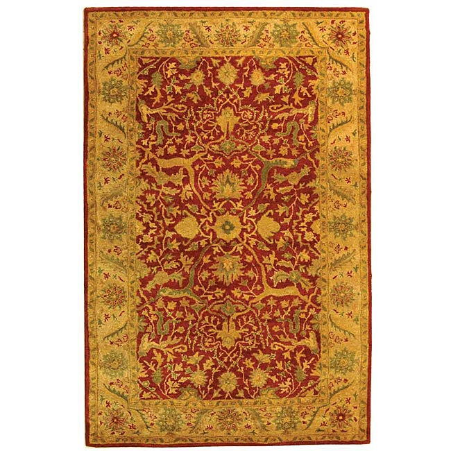 Safavieh Handmade Antiquities Mahal Rust/ Beige Wool Rug - 4' x 6'