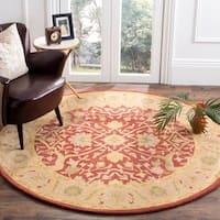 Safavieh Handmade Antiquities Mahal Rust/ Beige Wool Rug (3'6 Round)