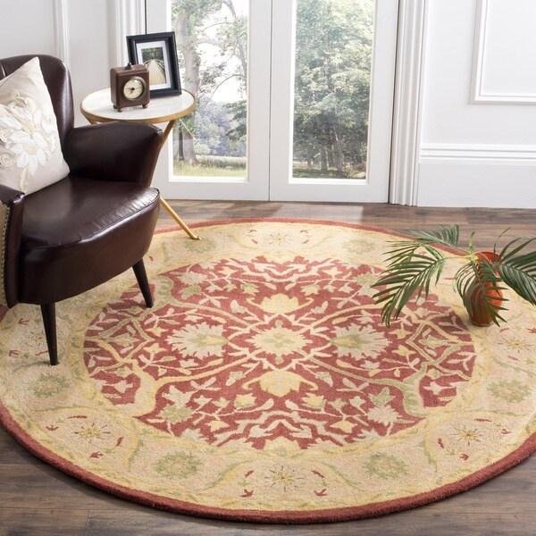Safavieh Handmade Antiquities Mahal Rust/ Beige Wool Rug (3'6 Round) - 3'6 Round