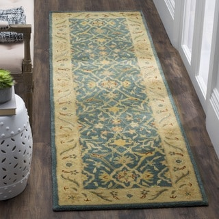 Safavieh Handmade Antiquities Mahal Blue/ Beige Wool Runner (2'3 x 8')