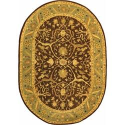 Safavieh Handmade Antiquities Mahal Brown/ Blue Wool Rug (4'6 x 6'6 Oval)