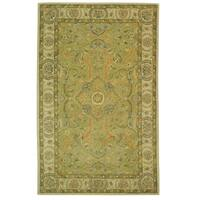 "Safavieh Handmade Antiquity Traditional Green / Ivory Wool Rug - 9'6"" x 13'6"""