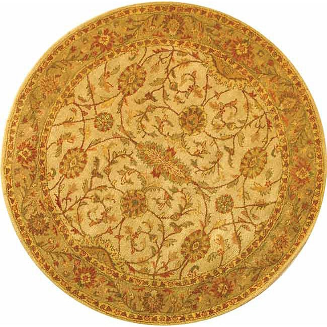 Safavieh Handmade Antiquities Kashan Ivory/ Beige Wool Rug (6' Round)
