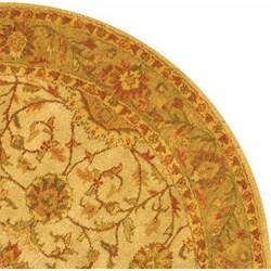 Safavieh Handmade Antiquities Kashan Ivory/ Beige Wool Rug (6' Round) - Thumbnail 2