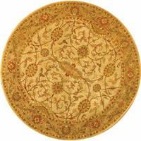 Safavieh Handmade Antiquities Kashan Ivory/ Beige Wool Rug - 6' x 6' Round