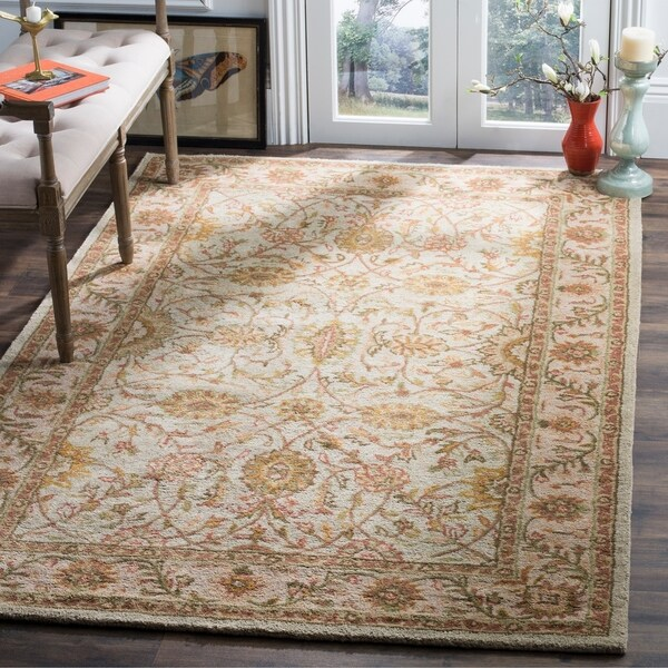 Safavieh Handmade Antiquities Kashan Ivory/ Beige Wool Rug - 8'3 x 11'