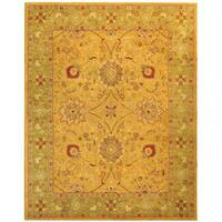Safavieh Handmade Antiquities Isfan Dark Gold/ Light Green Wool Rug - 6' x 9'
