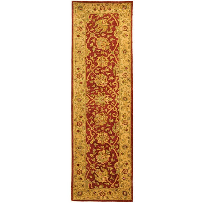 Safavieh Handmade Antiquities Mashad Rust/ Ivory Wool Runner (2'3 x 12')