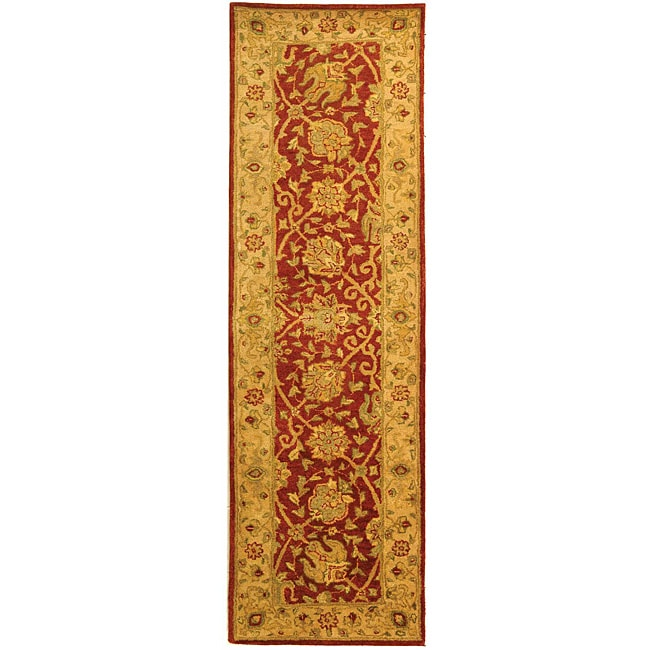 Safavieh Handmade Antiquities Mashad Rust/ Ivory Wool Runner (2'3 x 12') - Thumbnail 0