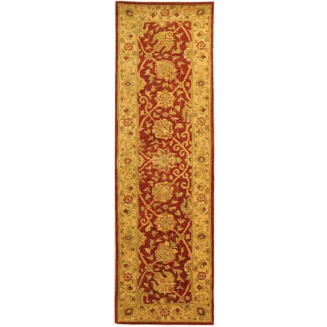 Safavieh Handmade Antiquities Mashad Rust/ Ivory Wool Runner (2'3 x 8')