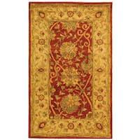 Safavieh Handmade Antiquities Mashad Rust/ Ivory Wool Rug - 3' x 5'