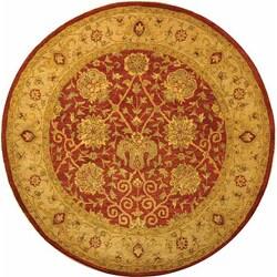 Safavieh Handmade Antiquities Mashad Rust/ Ivory Wool Rug (3'6 Round)