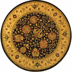 Safavieh Handmade Antiquities Mashad Black/ Ivory Wool Rug (3'6 Round)
