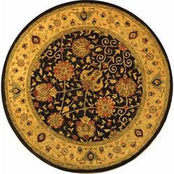 Safavieh Handmade Antiquities Mashad Black/ Ivory Wool Rug (6' Round)