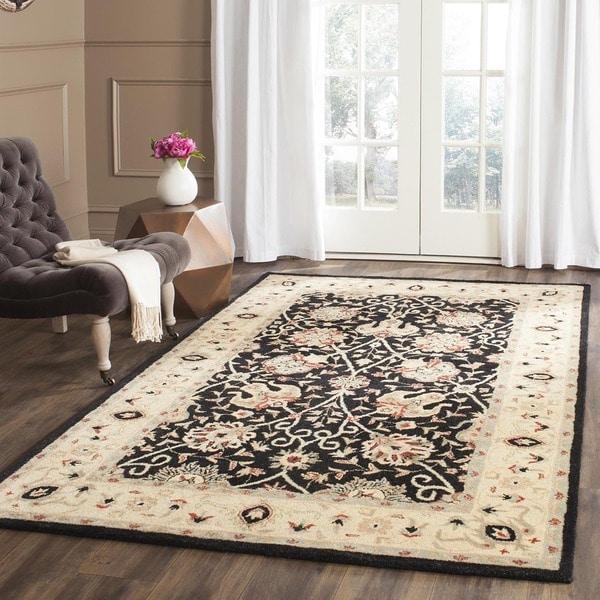 Safavieh Handmade Antiquities Mashad Black/ Ivory Wool Rug (9'6 x 13'6)
