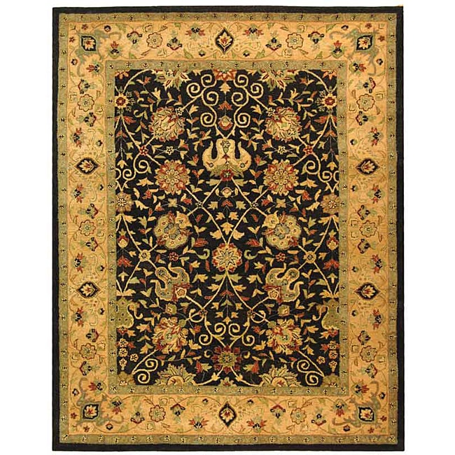 Safavieh Handmade Antiquities Mashad Black/ Ivory Wool Rug (6' x 9')