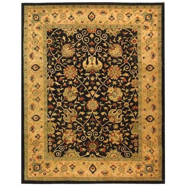Safavieh Handmade Antiquities Mashad Black/ Ivory Wool Rug (7'6 x 9'6)