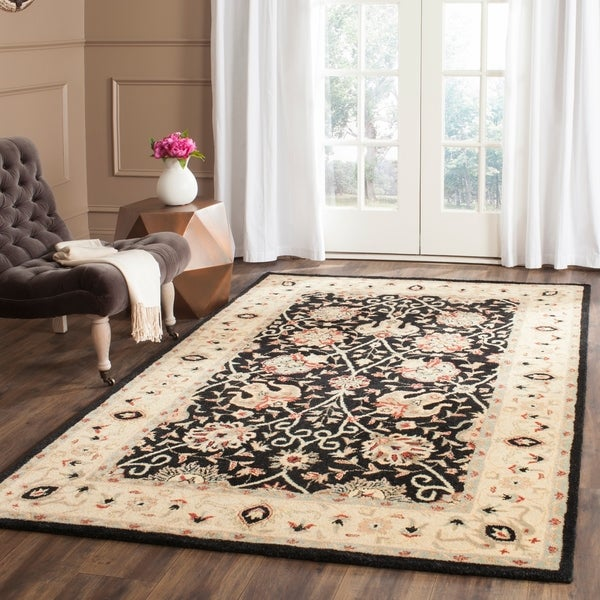 Safavieh Handmade Antiquities Mashad Black/ Ivory Wool Rug - 7'6 x 9'6