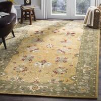 Safavieh Handmade Mashad Gold/ Green Wool Rug - 3' x 5'