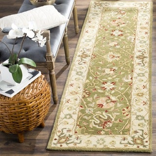 Safavieh Handmade Antiquities Mashad Sage/ Ivory Wool Runner (2'3 x 8')