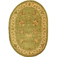 Safavieh Handmade Antiquities Mashad Sage/ Ivory Wool Rug (7'6 x 9'6 Oval)