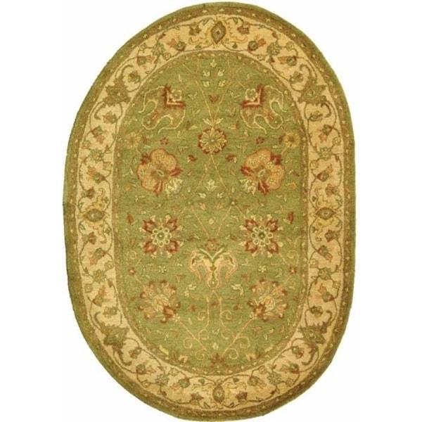 "Safavieh Handmade Antiquities Mashad Sage/ Ivory Wool Rug - 7'-6"" x 9'-6"" oval"