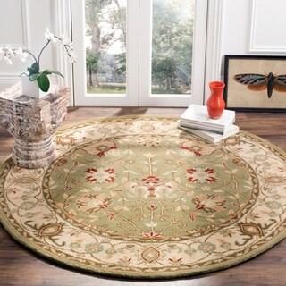 Safavieh Handmade Antiquities Mashad Sage/ Ivory Wool Rug (8' Round)